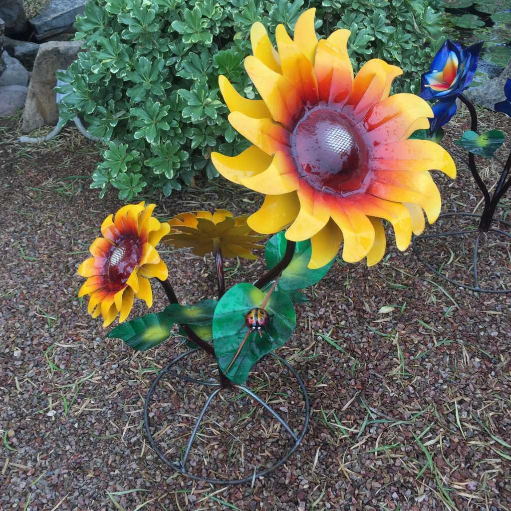 Medium Painted Sunflowers with Ladybug