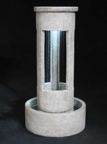 Cylinder Rain Fountain with Basin