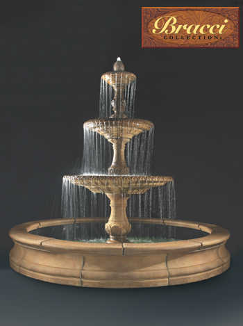 Four Seasons Fountain, 3-Tier with 12-foot Bracci Basin (shown above)